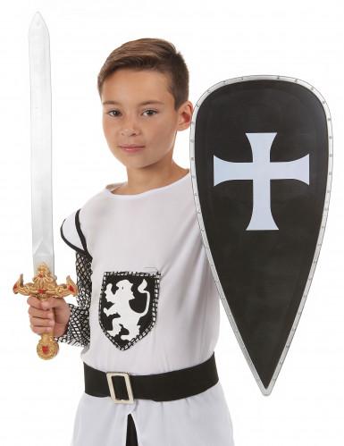 Kit bouclier et épée chevalier croisé en plastique pour Enfant  -1