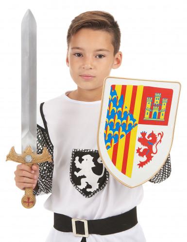 Kit bouclier et épée chevalier en plastique pour enfant-1