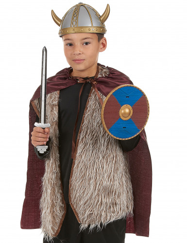 Kit Viking en plastique- épée, bouclier et cape Enfant