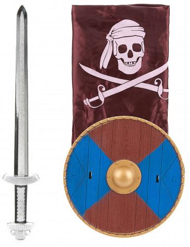 Kit Viking en plastique- épée, bouclier et cape Enfant-2