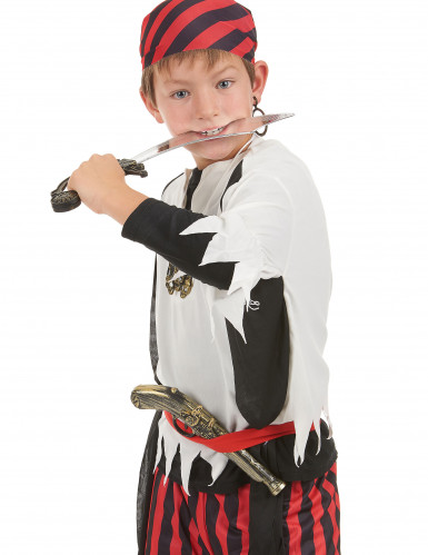 Kit de pirate en plastique - Sabre, pistolet, insigne et boucle d'oreilles Enfant -1