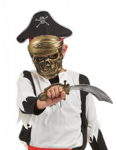 Kit de pirate en plastique - Sabre,chapeau et masque Enfant-1