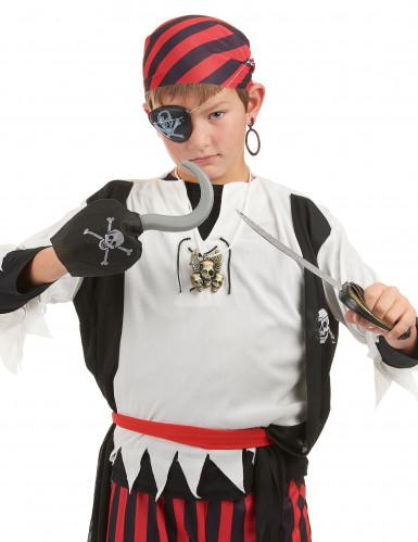 Kit de pirate en plastique - Sabre, crochet, insigne et cache eil et boucle d'oreilles Enfant-1