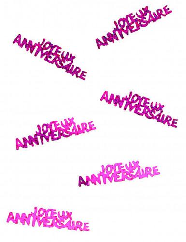 Confettis Joyeux anniversaire fuchsia