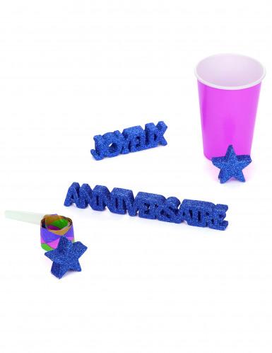 Décoration de table Anniversaire bleu foncé à paillettes-1