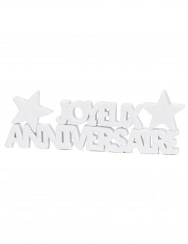 Décoration de table Joyeux Anniversaire blanc