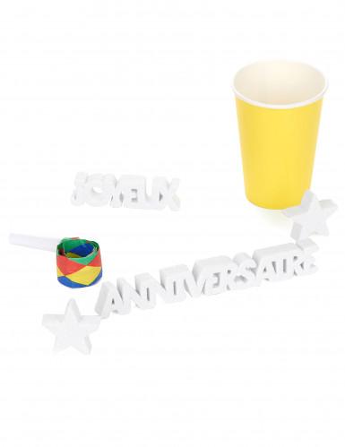 Décoration de table Joyeux Anniversaire blanc-1