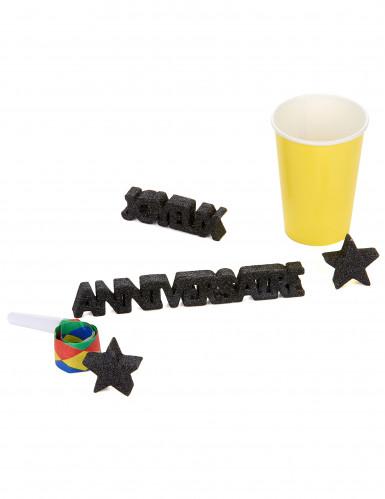 Décoration de table Joyeux Anniversaire noir-1