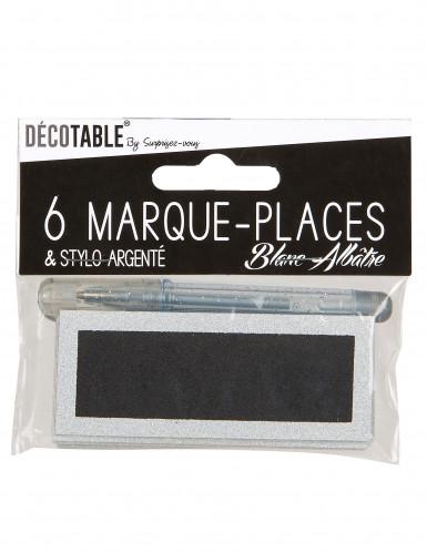 Marque-places paillettés blancs avec stylo-2