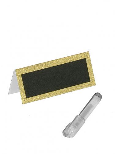Marque-places paillettés or avec stylo