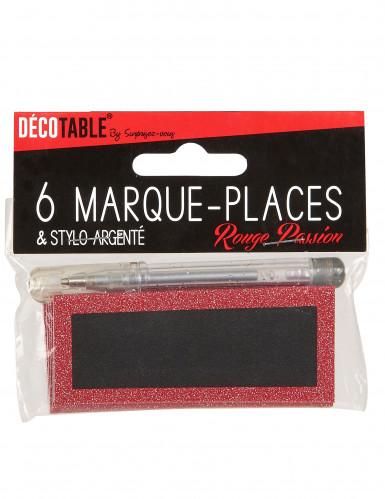 Marque-places paillettés rouges avec stylo-2
