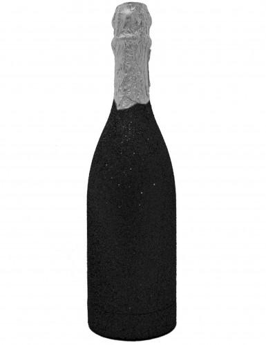 Canon à confettis bouteille noire pailletée