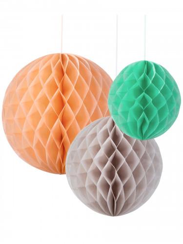 3 Suspensions boules papier pêche, menthe et gris