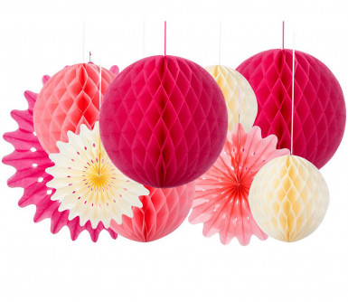 3 Suspensions rosaces pastel-1