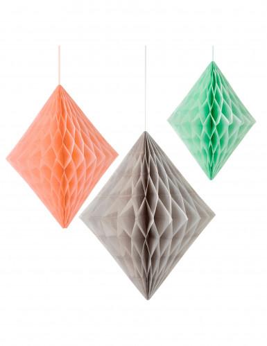 3 Suspensions diamant en papier pêche, gris et menthe
