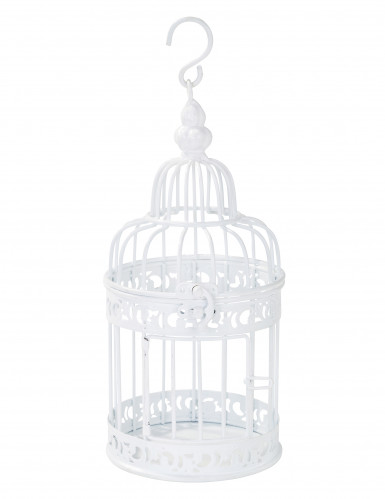 Petite cage à oiseaux décorative blanche