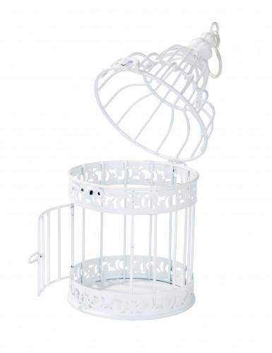 Petite cage à oiseaux décorative blanche-3