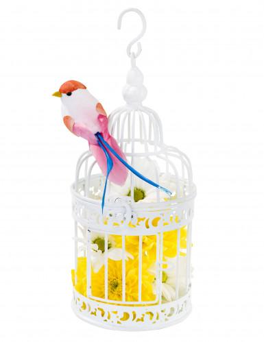 Petite cage à oiseaux décorative blanche-2