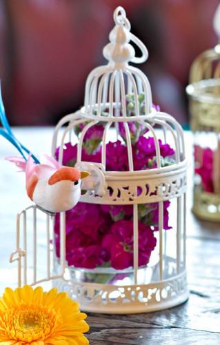 Petite cage à oiseaux décorative blanche-1