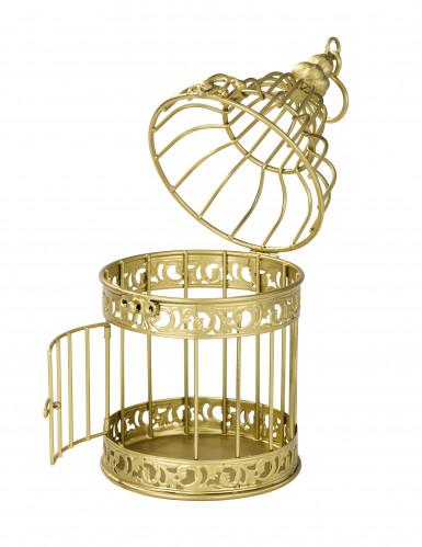 Petite cage à oiseaux décorative dorée 21 cm-2