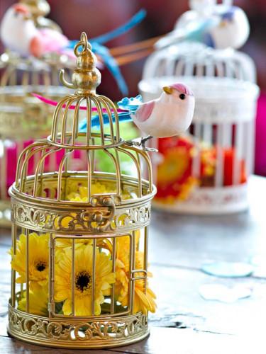 Petite cage à oiseaux décorative dorée 21 cm-1