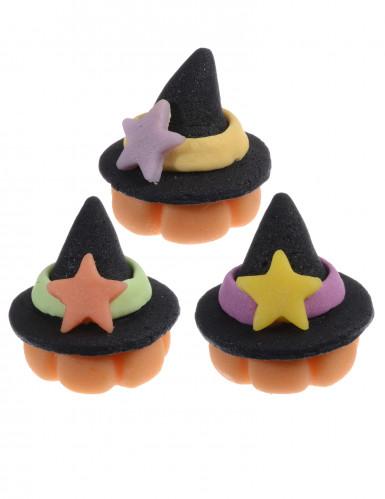 3 Chapeaux de sorcière en pâte d'amande 3 cm