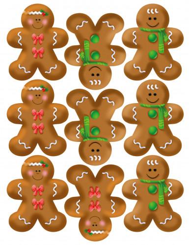 9 Décorations en sucre bonhommes en pain d'épices pour biscuits Noël-1