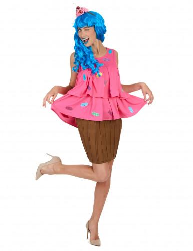 Déguisement cupcake rose femme-1