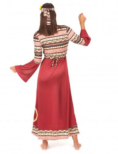 Déguisement robe hippie bordeaux femme-2