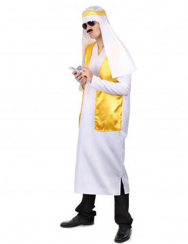 Déguisement cheikh arabe blanc et jaune homme-1