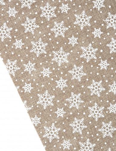 Chemin de table toile de jute avec flocons de neige blancs 5 mètres-1