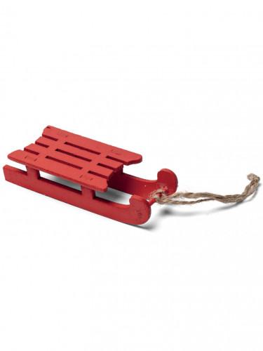 Décoration luge en bois rouge Noël 10 cm
