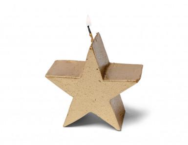 Bougie étoile dorée 7.5 cm