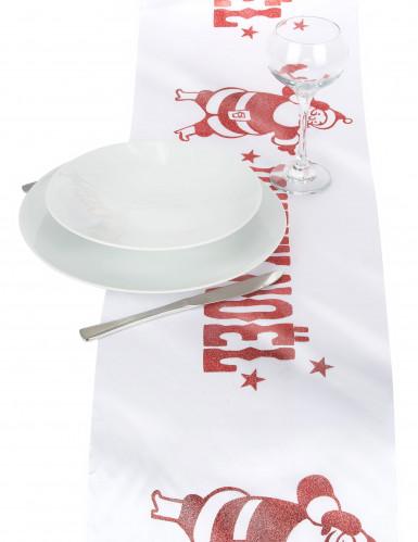 Chemin de table Joyeux Noël blanc et rouge-2