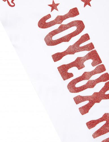 Chemin de table Joyeux Noël blanc et rouge-1