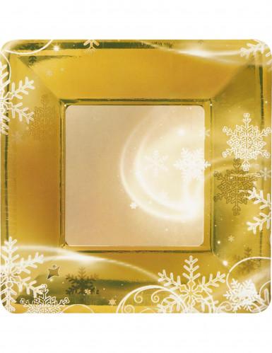 8 Petites assiettes en carton Flocons dorés Noël 19 cm