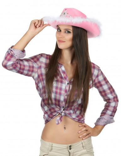 Chapeau cowgirl rose femme-1