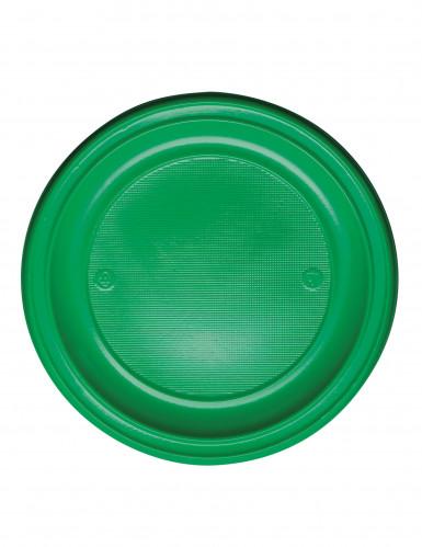 20 Assiettes en plastique vertes 22 cm