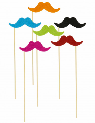 6 Pics moustaches fluos Photobooth