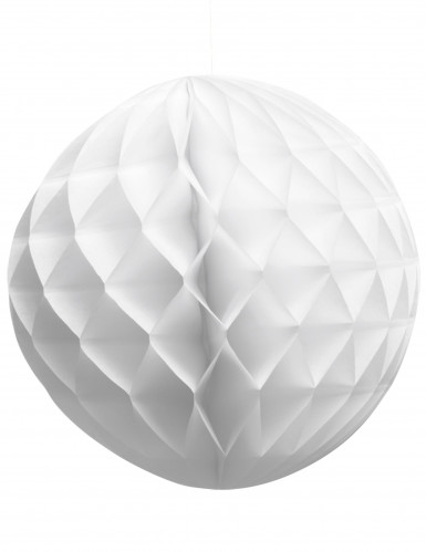 Boule en papier alvéolé blanche 25 cm