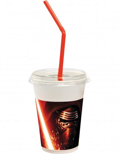 12 Gobelets avec couvercles et pailles Star Wars VII™ 300 ml