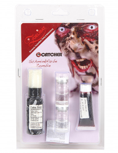 Kit maquillage zombie avec lentilles fantaisie adulte Halloween-1