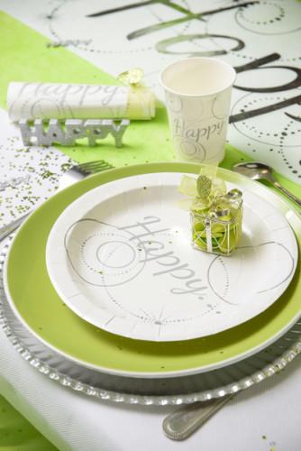 10 Assiettes en carton Happy blanches 22.5 cm-1