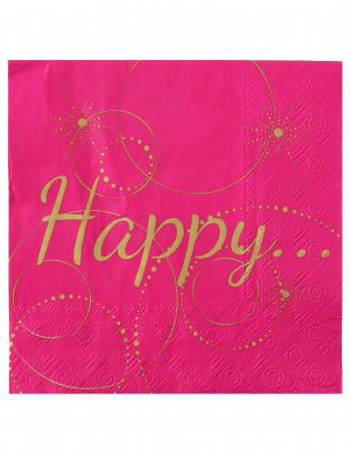 20 Serviettes en papier Happy fuschia