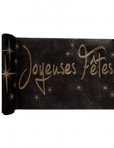 Chemin de table noir Joyeuses fêtes dorées