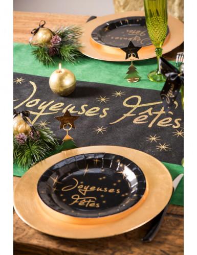 Chemin de table noir Joyeuses fêtes dorées-2