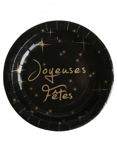 10 Assiettes en carton Joyeuses fêtes 22.5 cm