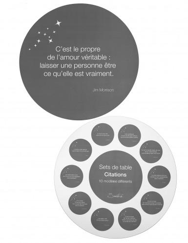 10 Sets de table gris avec citations