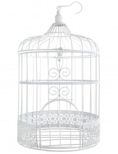 Décoration cage à oiseaux blanche 30 cm