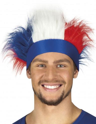 Bandeau avec cheveux tricolore France adulte
